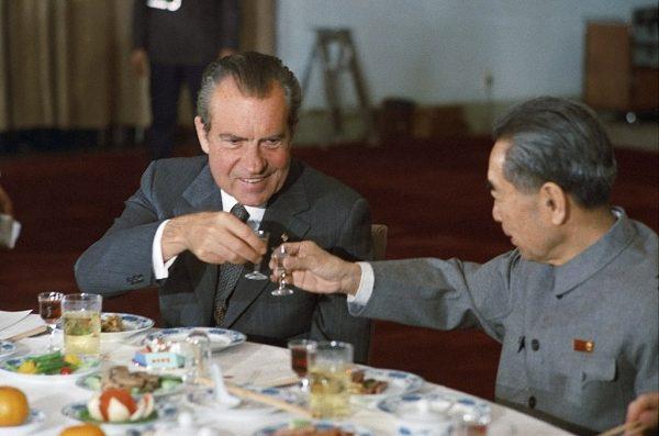 U.S. President Richard Nixon and Chinese Premier Zhou Enlai toast during Nixon's 1972 visit to China. (Image: Richard Nixon Presidential Library and Museum)