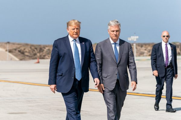 President Donald J. Trump with White House National Security Advisor Robert C. O'Brien, on Sept. 18, 2019, prior to boarding Air Force One at Los Angeles International Airport. (Image: Official White House Photo by Shealah Craighead)