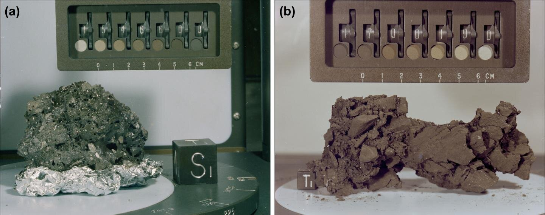 Photos of lunar impact melt breccia samples. (Image: NASA and AIR)