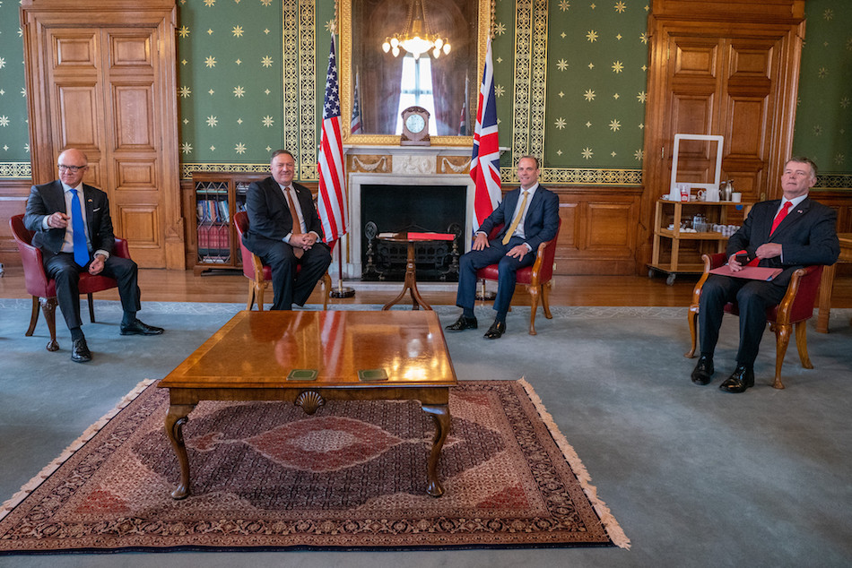 Secretary of State Michael R. Pompeo with UK Foreign Secretary Dominic Raab in London, July 21, 2020. (Image: Ronny Przysucha/U.S. State Department/ Public Domain)