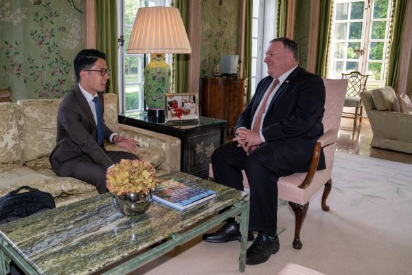 Secretary of State Michael R. Pompeo talks with Hong Kong Democracy leader Nathan Law, in London, United Kingdom, on July 21, 2020. (Image: Ronny Przysucha/U.S. State Department/ Public Domain)