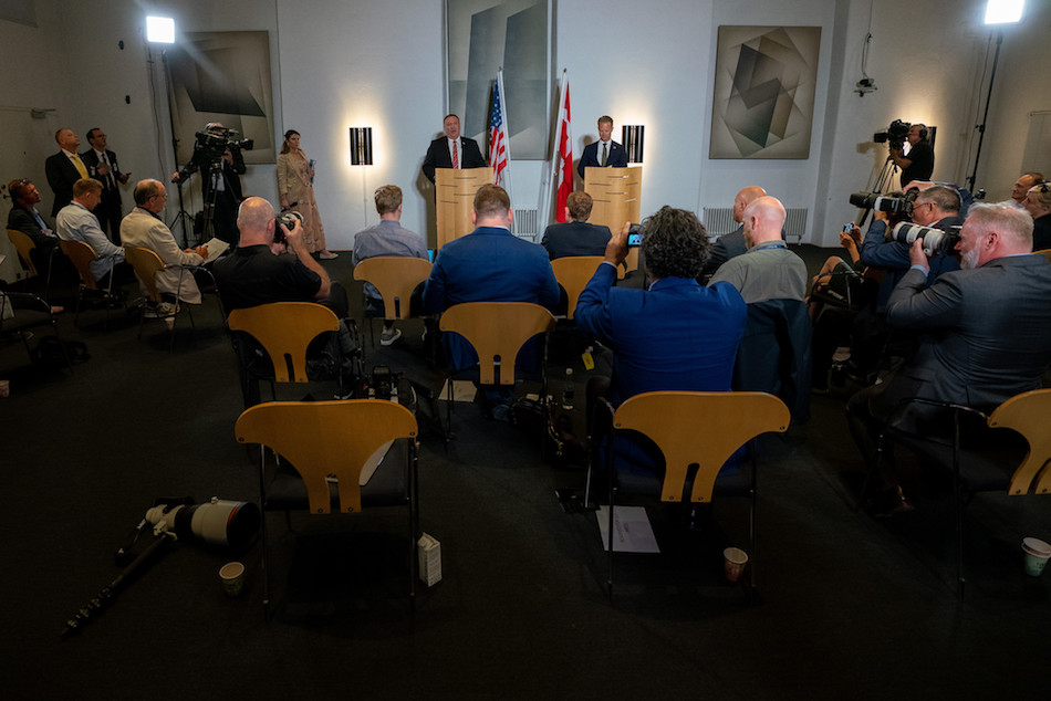 Secretary of State Michael R. Pompeo and Danish Foreign Minister Jeppe Kofod hold a joint press conference in Copenhagen, Denmark, on July 22, 2020. (Image: Ronny Przysucha/U.S. State Department/ Public Domain)