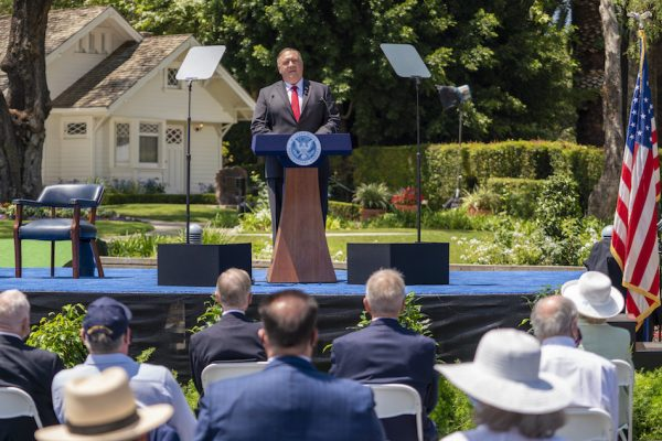 """U.S. Secretary of State Michael R. Pompeo delivers his speech on """"Communist China and the Free World's Future"""" on July 23, 2020. (Image: Ron Przysucha/U.S. State Department/Public Domain)"""