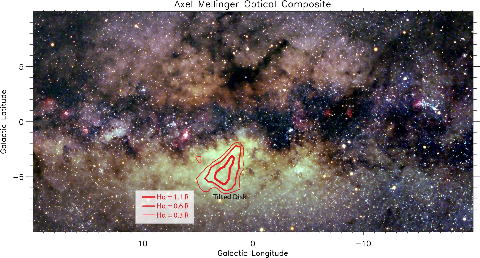 Optical Milky Way image with Hα emission line ratio associated with the Tilted Disk. (Image: Axel Mellinger)