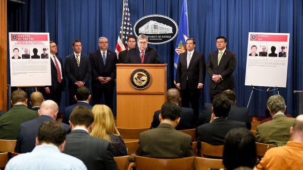 At a February 10, 2020 press conference, Attorney General Barr announces that a federal grand jury in Atlanta returned an indictment charging four members of the Chinese People's Liberation Army (PLA) with hacking into the computer systems of the credit reporting agency Equifax and stealing Americans' personal data and Equifax's valuable trade secrets. (Image: FBI)