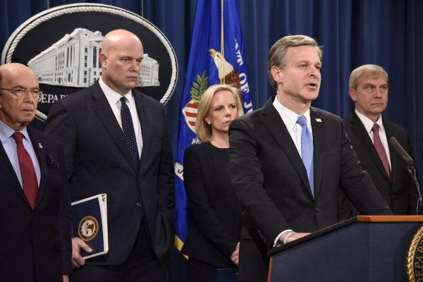 FBI Director Christopher Wray at an event announcing national security related criminal charges against Chinese telecommunications conglomerate Huawei on January 28, 2019. (Image: FBI)