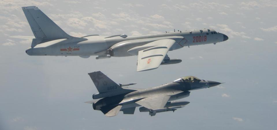 A Taiwanese F-16 intercepts a Chinese H-6 bomber in February 2020. (Image: ROC Ministry of Defense)