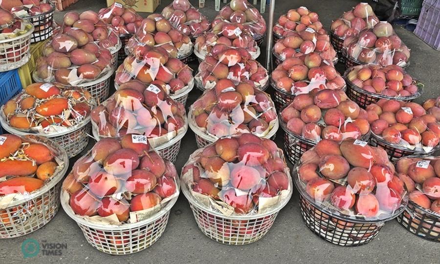 Ai Wen Mango sold at Yujing Mango Wholesale Market . (Image: Julia Fu / Vision Times)