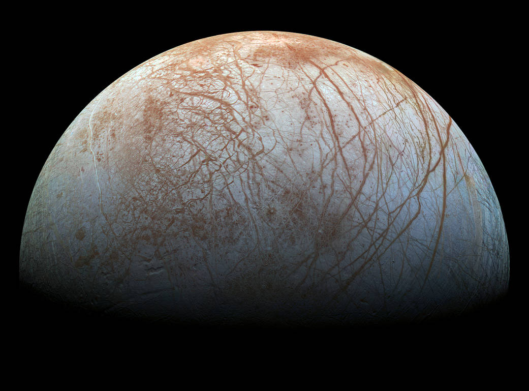 The fracture patterns the scientists identified can be found not only on Earth, but around the solar system, including on the mosaic-like surface of Jupiter's moon, Europa. (Image: Penn Today)