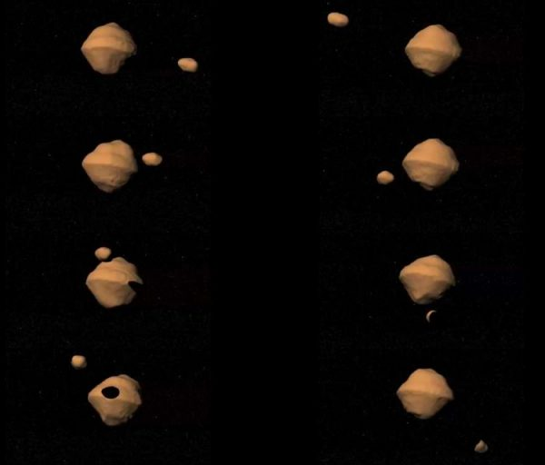 Rendering of the orbital pattern of the binary asteroid 1999 KW4. (Credit: NASA/JPL)