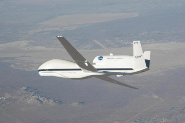 NASA's unmanned Global Hawk aircraft, which observed ash lingering in the air after the eruption. (Credits: CC photo via Wikimedia Commons; NASA/Dryden/Carla Thomas)
