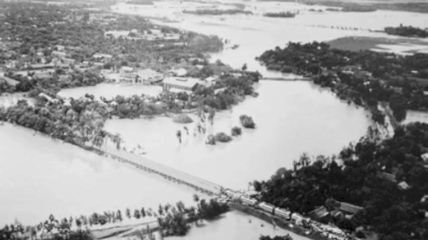 Flooding caused by the collapse of the Banqiao Dam in China in 1975.