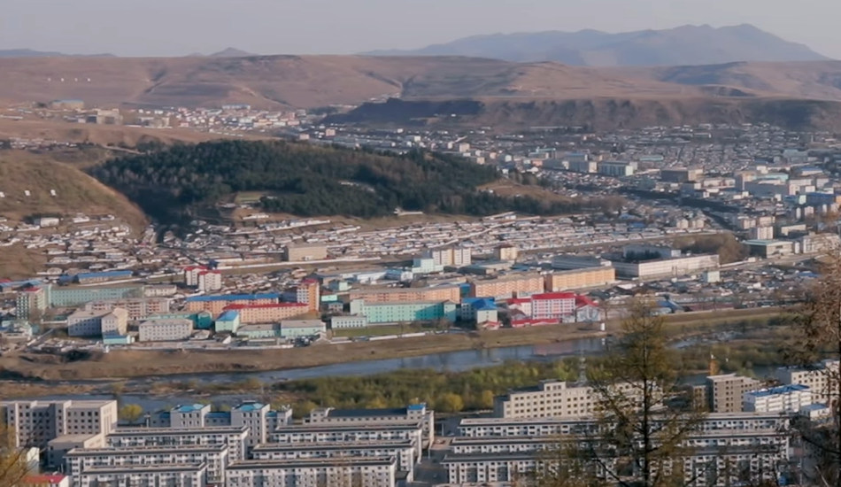 Looking down and across the Amnok river into North Korea.