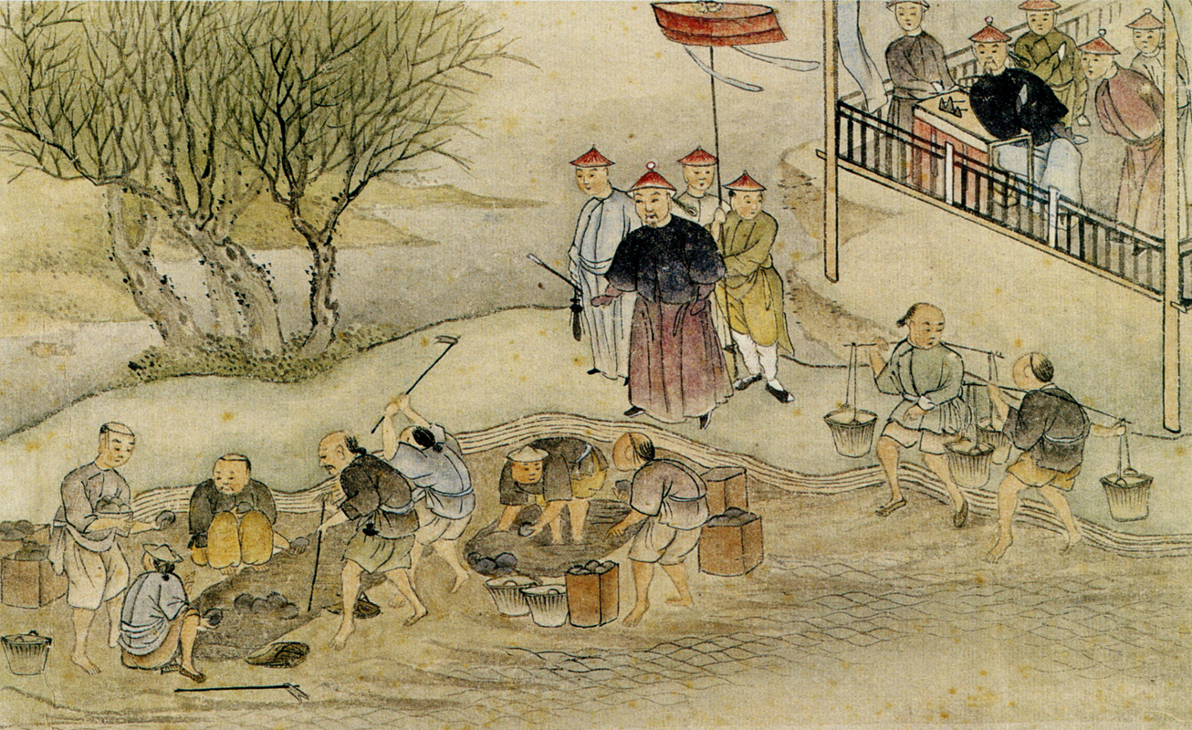 Lin supervising the destruction of opium.