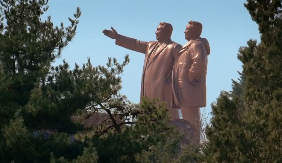 Monument to Kim Il-Sung and Kim Jong-il in Pyongyang, North Korea.