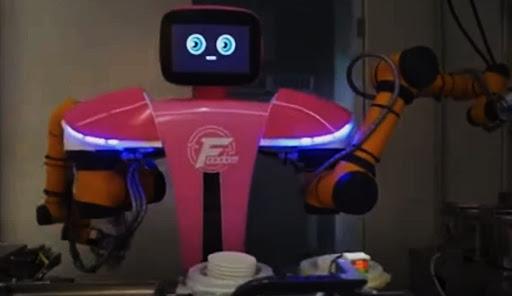 A food service robot.