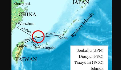 Map of national claims of the Senkaku Islands.