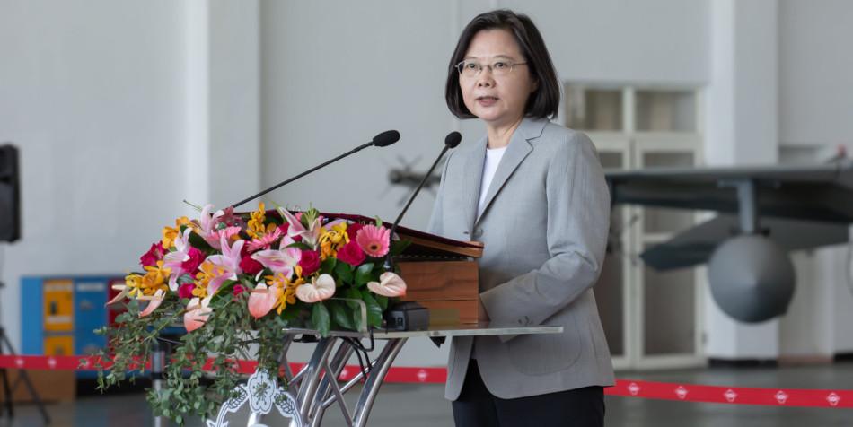Taiwan's president, Tsai Ing-wen gives a speech.