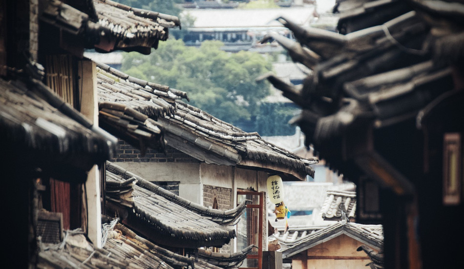 Roofs in an old Asian city.