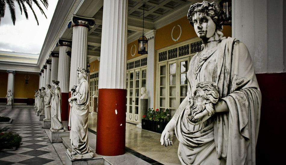 Statues of ancient Greek women.