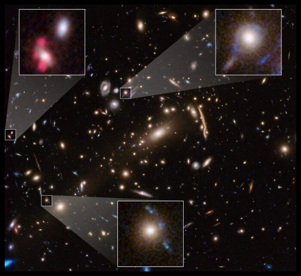 This Hubble Space Telescope image shows the massive galaxy cluster MACSJ 1206. Embedded within the cluster are the distorted images of distant background galaxies, seen as arcs and smeared features. These distortions are caused by the dark matter in the cluster, whose gravity bends and magnifies the light from faraway galaxies, an effect called gravitational lensing. This phenomenon allows astronomers to study remote galaxies that would otherwise be too faint to see.  Astronomers measured the amount of gravitational lensing caused by this cluster to produce a detailed map of the distribution of dark matter in it. Dark matter is the invisible glue that keeps stars bound together inside a galaxy and makes up the bulk of the matter in the Universe. The Hubble image is a combination of visible- and infrared-light observations taken in 2011 by the Advanced Camera for Surveys and Wide Field Camera 3. (Credit: NASA, ESA, G. Caminha (University of Groningen), M. Meneghetti (Observatory of Astrophysics and Space Science of Bologna), P. Natarajan (Yale University), and the CLASH team)