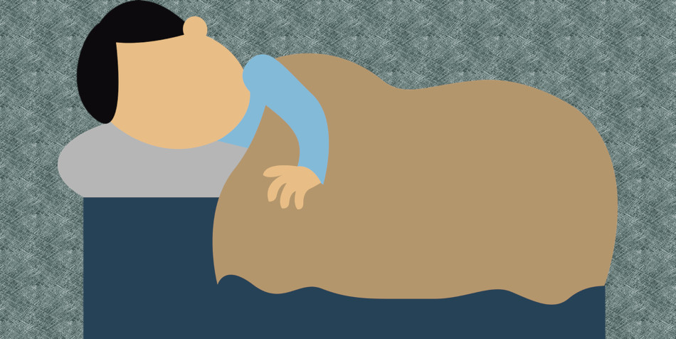 A cartoon graphic of a man sleeping on his side.