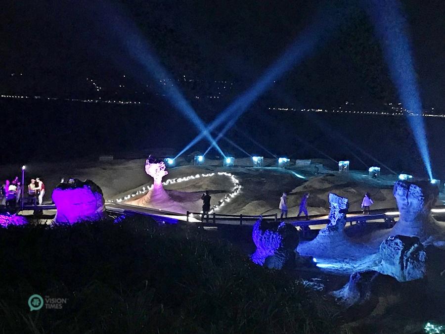 Yehliu Geopark light show in Taiwan