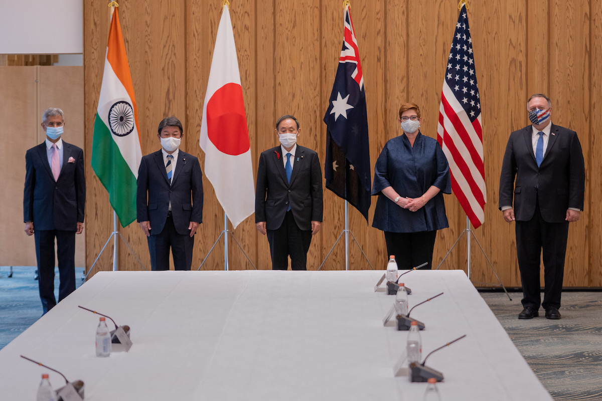 U.S. Secretary of State Michael R. Pompeo, Foreign Minister Marise Payne, Japanese Prime Minister Yoshihide Suga, Japanese Foreign Minister Toshimitsu Motegi, and Indian External Affairs Minister Dr. Subrahmanyam Jaishankar.