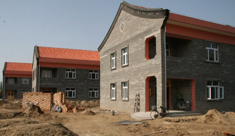Chinese-style buildings under construction.