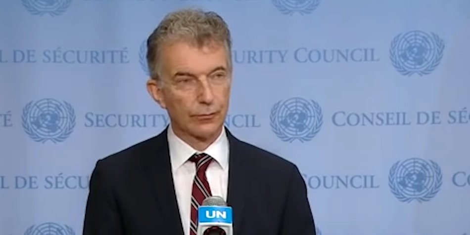 Christoph Heusgen giving a speech at the United Nations.