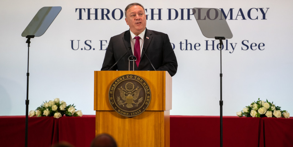 """U.S. Secretary of State Michael R. Pompeo delivers a speech on """"Moral Witness and Religious Freedom"""" at the Holy See Symposium on Advancing and Defending Religious Freedom through Diplomacy, in Rome, Italy on September 30, 2020."""