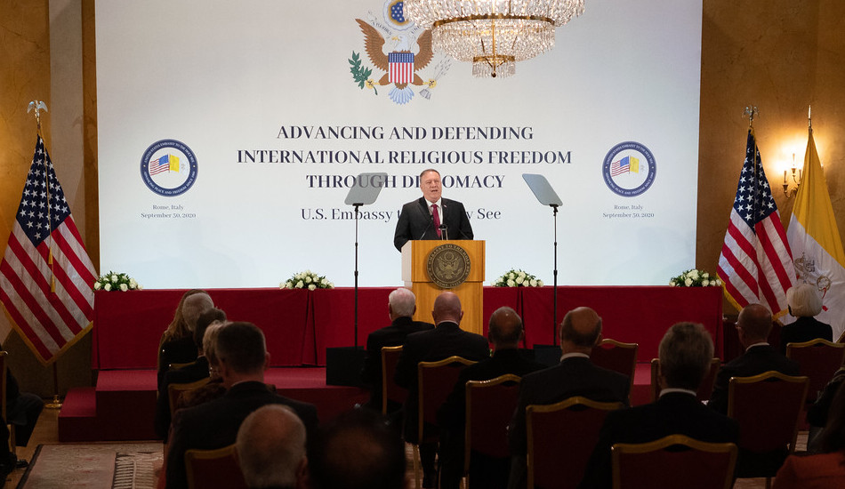 "U.S. Secretary of State Michael R. Pompeo delivers a speech on ""Moral Witness and Religious Freedom"" at the Holy See Symposium on Advancing and Defending Religious Freedom through Diplomacy, in Rome, Italy on September 30, 2020."