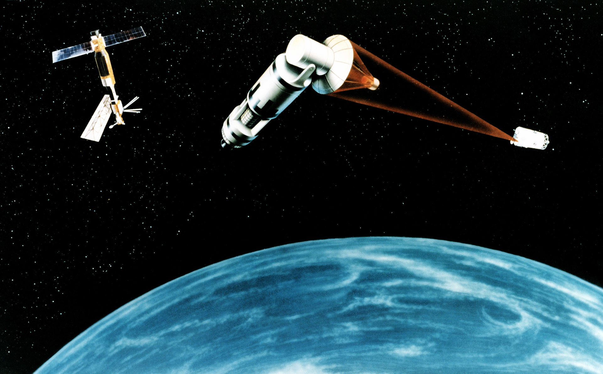 The 1984 SDI concept of a laser-equipped satellite firing on another.