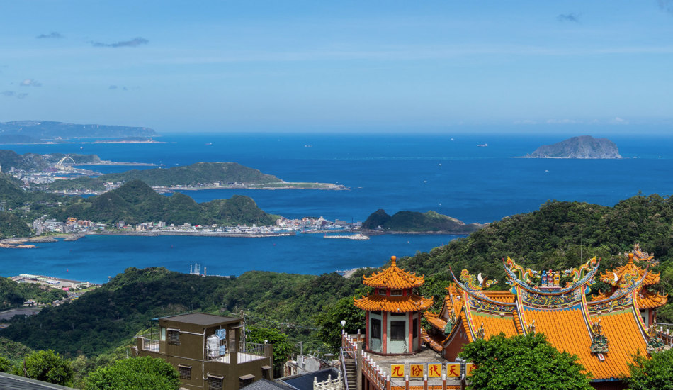 A view from a hillside overlooking the coast of Taiwan.