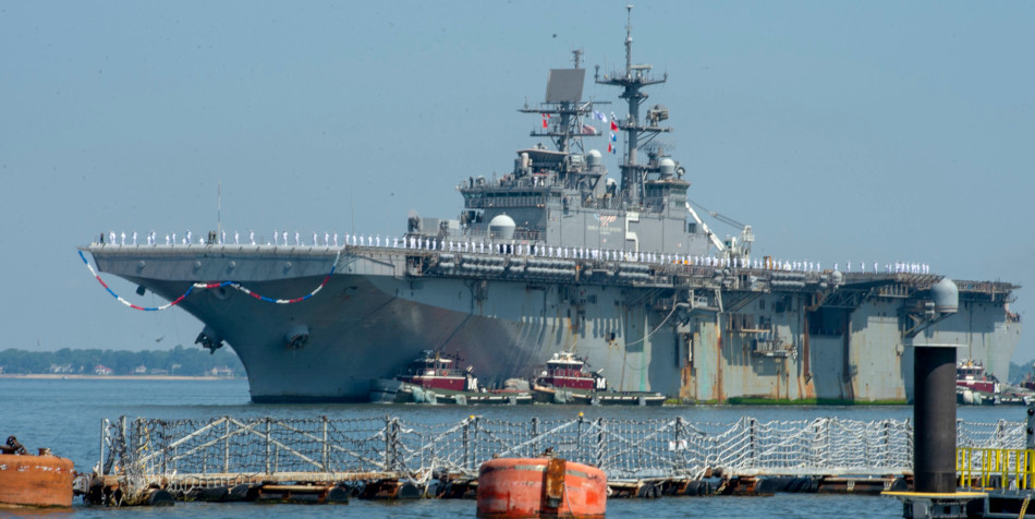 The US Bataan returns to its homeport at Norfolk, Virginia.