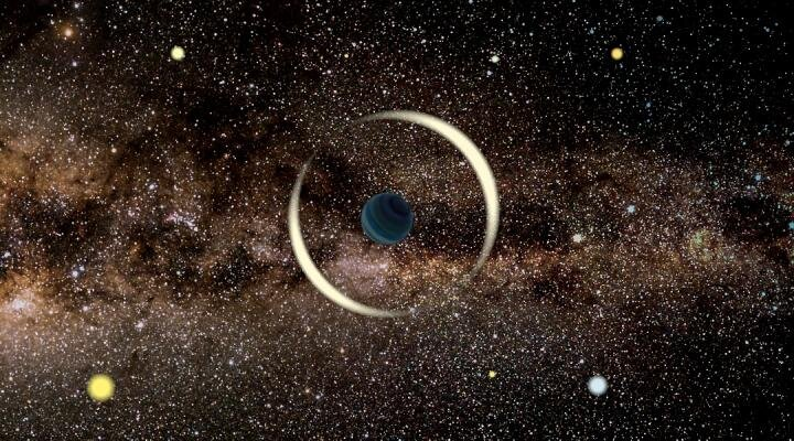 An artist's impression of a gravitational microlensing event by a free-floating planet. (Image: Jan Skowron / Astronomical Observatory, University of Warsaw)