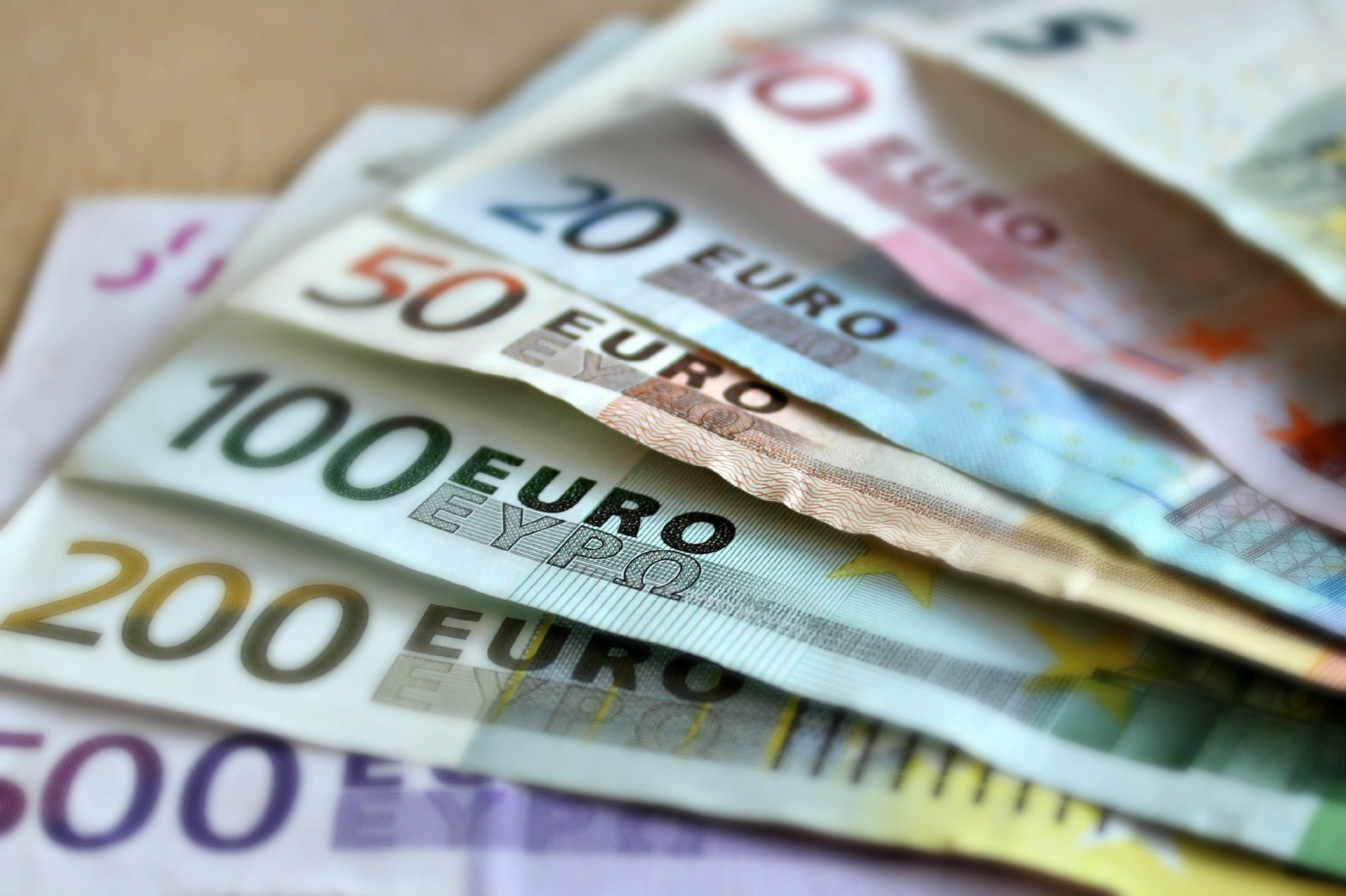 Euros in several denominations.