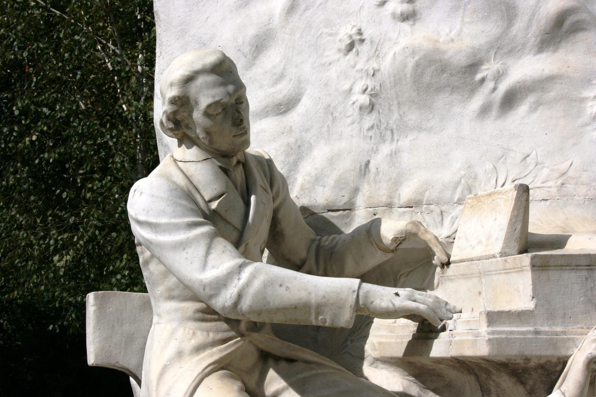 A statue of Chopin in Parc Monceau, Paris.