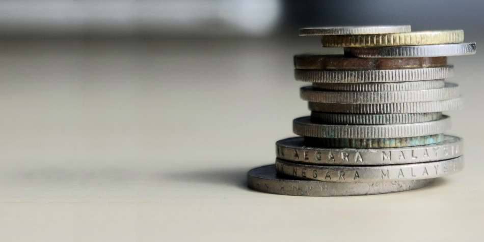 Closeup of a stack of coins.