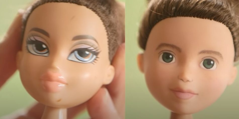 A Bratz doll before and after its 'makeover'.