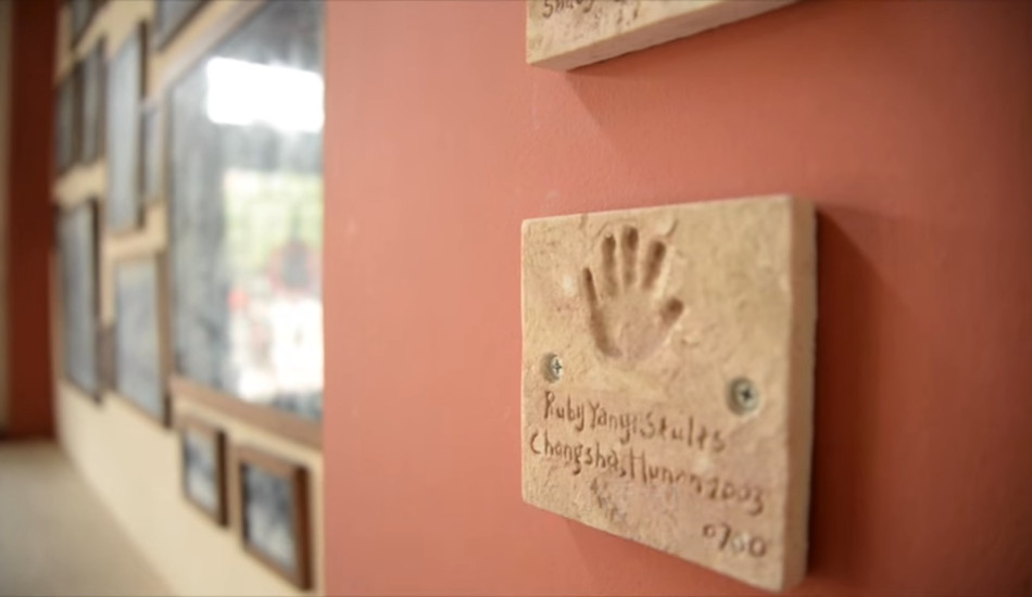 One of the handprints on the wall at Shepherd's Field Children's Village.
