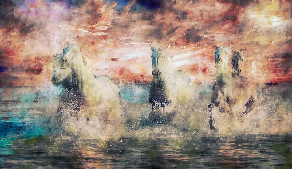 A painting of four white horses running along the beach at sunset.
