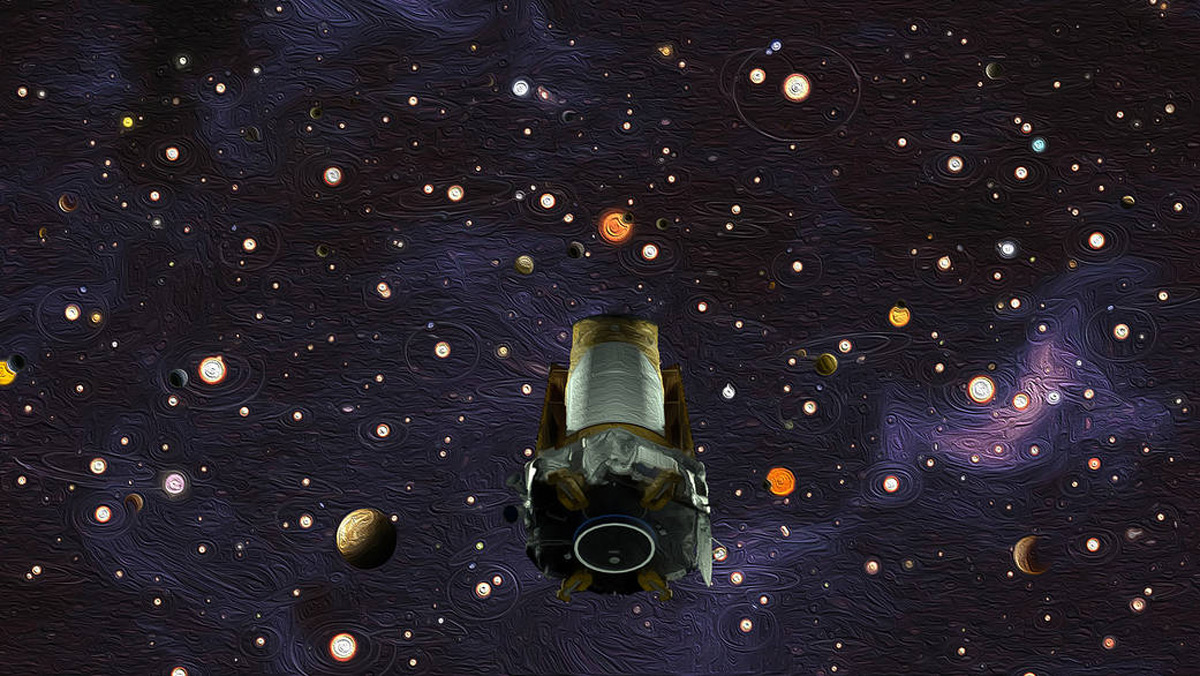 An illustration representing the legacy of NASA's Kepler space telescope. After nine years in deep space collecting data that revealed our night sky to be filled with billions of hidden planets – more planets even than stars – NASA's Kepler space telescope ran out of fuel needed for further science operations in 2018. (Image: NASA/Ames Research Center/W. Stenzel/D. Rutter. Source: A New View of Our Starry Night)
