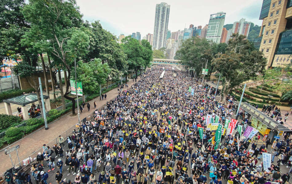 Hong Kong street filled with protesters as far as the eye can see.