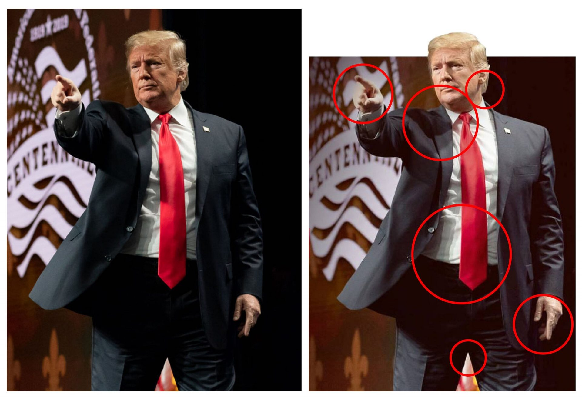 The original photo of US President Donald Trump (left) and the edited version of him (right) that he shared on his official Instagram and Facebook accounts. (Image: Dr T.J. Thomson, QUT's Digital Media Research Centre)