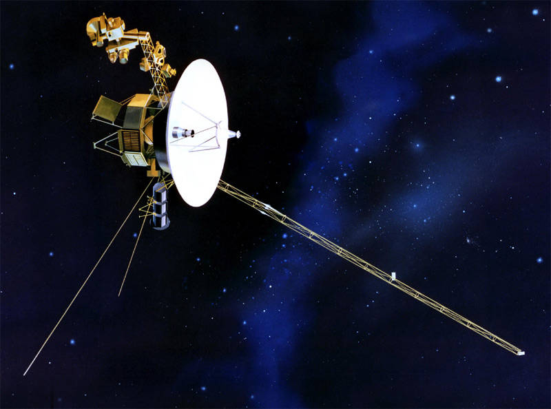 Voyager 1 and Voyager 2 launched from NASA's Kennedy Space Center and traveled to explore the outer planets. Telemetry from the spacecraft was received on both the S- and X-bands at 2,560 bits per second. By the time they had reached Mars, a single signal had taken about 10 minutes to reach Earth. Due to both Voyagers' successful encounters with Jupiter and Saturn, the mission was extended to include Neptune and Uranus in the mid 1980's. After their encounters with the outer most planets, both Voyagers moved towards the edge of our solar system. Voyager 1 is further from the Earth than its counterpart at about 18 billion kilometers away; a signal from Voyager 1 takes over 34 hours round trip. Voyager 1 became the first man made object to exhit the solar system in August 2012 and is still supported by the Deep Space Network today. (Image: NASA)