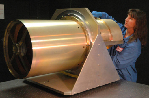 This image shows NASA's 40 cm diameter Wide-field Infrared Survey Explorer, or WISE, telescope. The WISE telescope is an all aluminum optical system that will produce images of the sky with 2.75 arcsec resolution in four infrared spectral bands. (Image: NASA/JPL-Caltech/L-3 SSG-Tinsley)