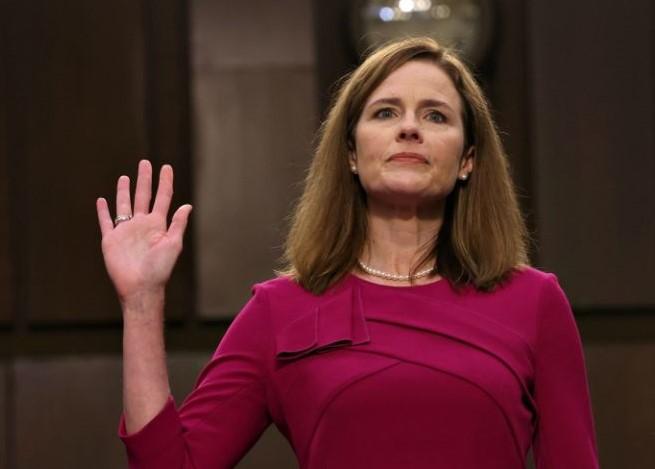 Amy Coney Barrett taking oath during Senate hearing