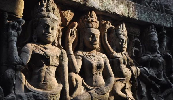 The Angkor Wat temple was built in the 12th century by King Suryavarman II.