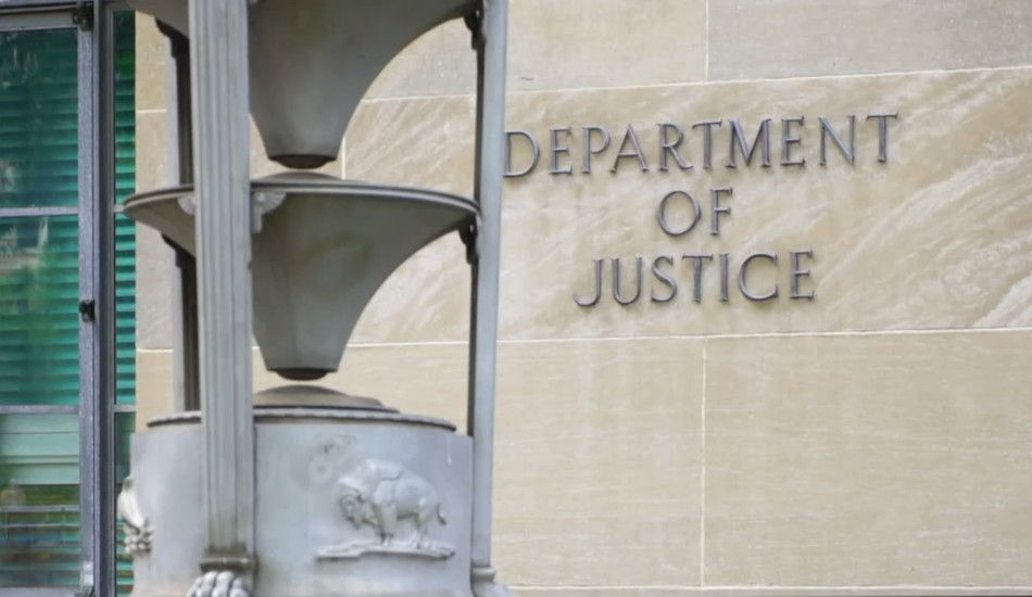 Exterior shot of the U.S. Department of Justice building in Washington, DC
